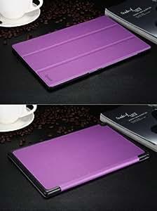 xperia z2 tablet ケース レザー エクスペリアz2 タブレット カバー docomo SO-05F/au SOT21対応 2つ折 手帳型 軽量/薄/革 ブックカバー ケース ソフトケース/ソフトカバー ジャケット 保護ケース/保護カバー プロテクターZ2-TABLET-BE-W40605 (パープル)