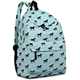 Miss Lulu Backpack School Bag Horse Canvas Rucksack Travel Shoulder Bag Fashion Daypack