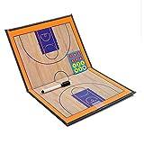 【全2種】 サッカー フットサル バスケット ボール 作戦 板 折りたたみ タクティック コーチング ボード ペン セット (4. バスケット ボール 用(2色))