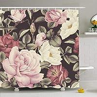 フック付きシャワーカーテンセット72x78牡丹の花柄カラフルなパターンフェミニンローズホワイト成長水彩ヴィンテージテクスチャー植物性防水ポリエステルファブリックバスルーム用バス装飾 165X180 CM