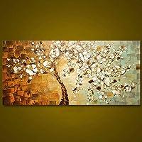 Klaxiaz(TM) フレームレスパネルハンド太いパレットナイフは、ホームのためにウォールアートピクチャー現代抽象キャンバス大型油絵絵画塗装済み完成品 [70X130CM ]