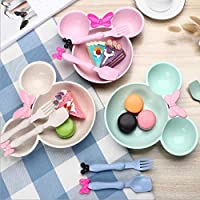 Best Quality - Bowls - Food Grade Wheat material Cute Cartoon mickey mouse big Head bowl Fruit plate tableware dish for Spoon Tableware Set - by Tini - 1 PCs