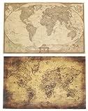 AntiqueStyle 世界地図 アンティーク風 ポスター 壁紙 インテリア 海賊 地図 2パターンセット