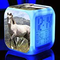 子供の誕生日プレゼントMultifunctioの方法目覚し時計のための馬の目覚し時計の白熱LEDデジタルの目覚し時計