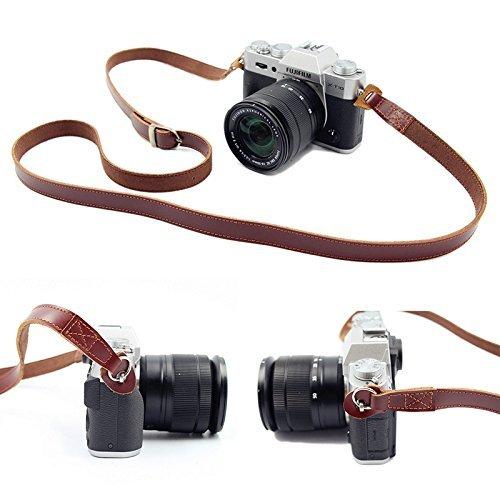 SUSUMU カメラストラップ 前掛け 肩掛け 本革 高級感 調節可能 便携式 for SLR Camera Nikon Canon,Sony,Pe...