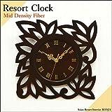 MANJA WOO-0122-B デザイン 掛け時計 MDF レリーフ (ロータス) 静音タイプ 壁掛け おしゃれ かわいい アジアン エスニック ハワイアン