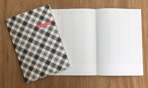 24時間スケジュール帳 A5 週間バーチカル モノクロチェック