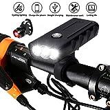BESTSUN USB充電式 自転車のフロントライト とテールライト セット、スーパーブライト、3 LED 6000ルーメン、自転車用ヘッドライト、防水 自転車用ライト、ナイトサイクル安全懐中電灯 山 道路 サイクリング用