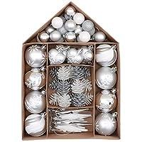 Valery Madelyn クリスマス オーナメント セット 70個入り 銀白色 北欧風 ボールクリスマス ツリー 飾り 飾り付け おしゃれ ゴージャス