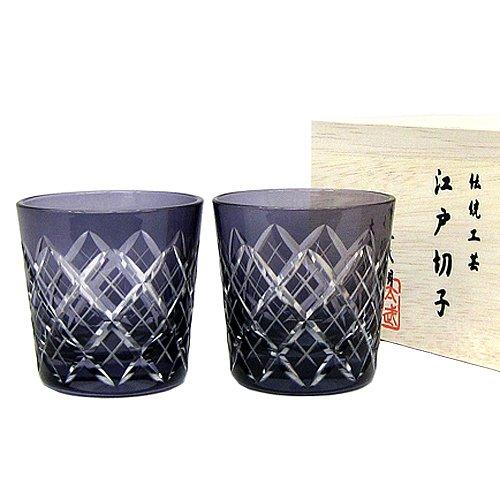 江戸切子 矢来紋 冷酒杯ペア(江戸紫) TB90152-1Ms