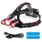 LEDヘッドライト 12000ルーメン USB充電式 3*CREE XM-L T6 PSE認証済み 18650型バッテリー 付属 防水 4点灯モード 作業灯 防災 登山 釣り ランニング 夜釣り