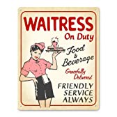 Retro Diner Waitress on Duty Metal Sign by New Retro Signworks [並行輸入品]