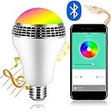 iHOVEN スマートLED電球RGBワイヤレススピーカー内蔵Bluetooth4.0LEDライト 音楽再生 調光調色可 スマホ操作 E26/E27口金対応 スマートマルチカラー 普段照明用 LED超省エネ電球 多彩音楽電球APPコントロール 色彩変化と明度調整可能 Android/Apple IOSスマートフォンに適用 電球色 電球型 照明パーティー専用 目覚まし時計(1年安心保証付き)