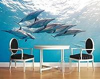 Bzbhart 3D壁紙壁画シルク 壁画の壁紙 海の壁紙イルカテレビの設定壁 壁の壁画-400cmx280cm