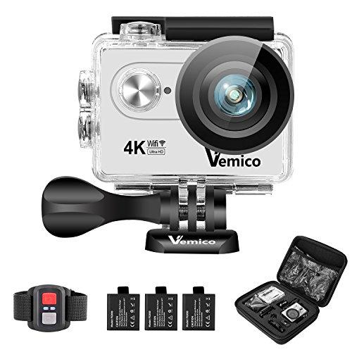Vemico アクションカメラ 4K カメラ 防水 ウェアラブルカメラ WIFI搭載 アクションカム 1600万画素 2インチ液晶画面 170度広角 40m防水 スポーツカメラ バイクや自転車/カート/車に取り付け可能 リモコン付き 三つ電池式取付自由 (シルバー)