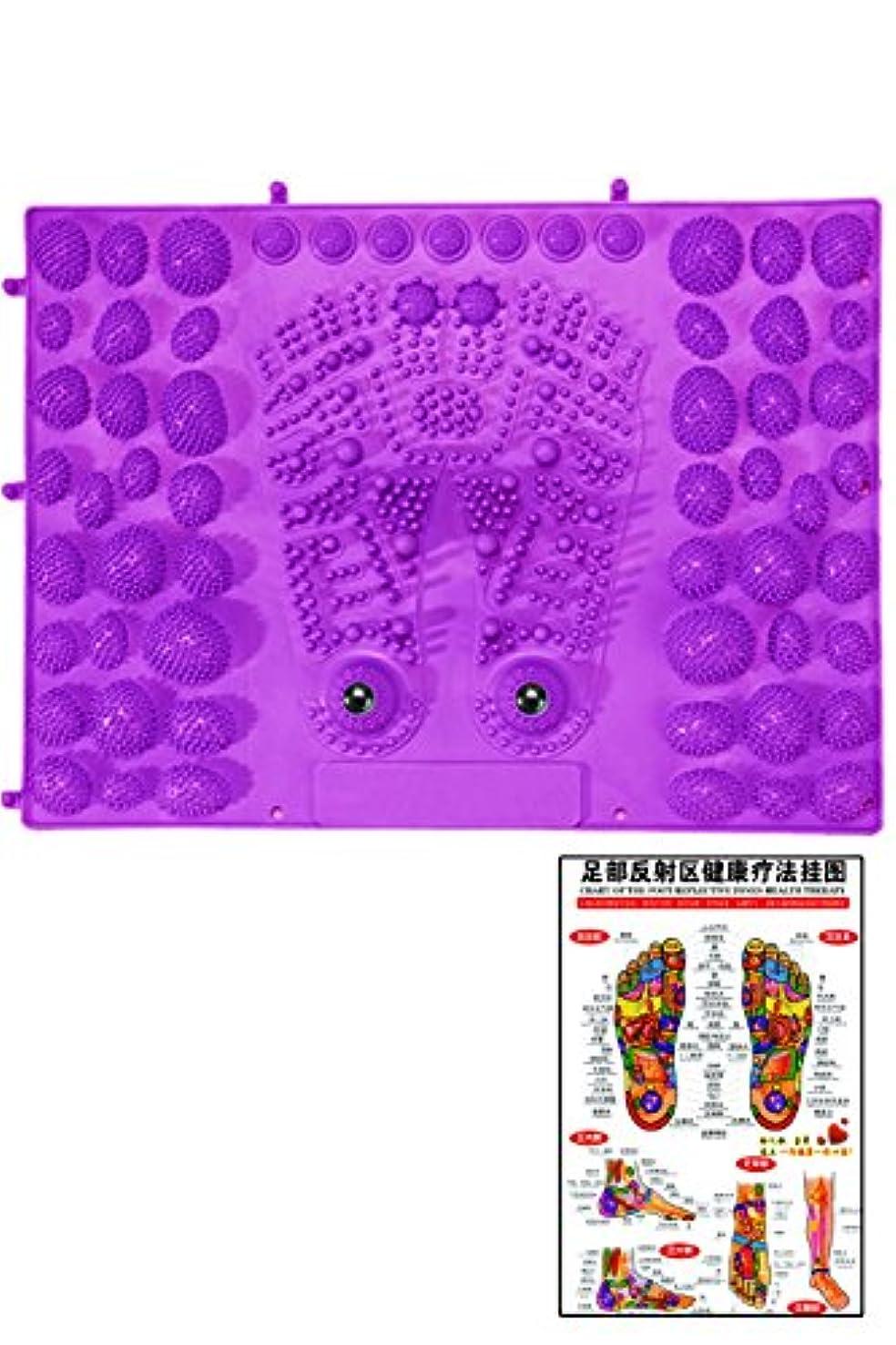 クリスマス算術下に向けます(POMAIKAI) 足型 足ツボ 健康 マット ダイエット 足裏マッサージ 反射区 マップ セット (パープル)