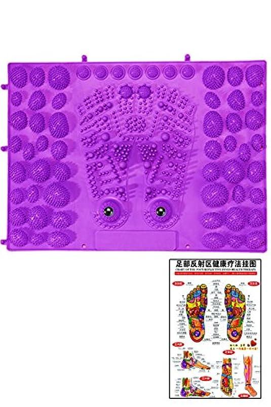 トチの実の木請うビル(POMAIKAI) 足型 足ツボ 健康 マット ダイエット 足裏マッサージ 反射区 マップ セット (パープル)
