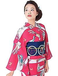 e9bbf09672a00   KIMONOMACHI   オリジナル 女性浴衣3点セット 「ラズベリー 飛行機」 浴衣+帯