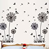 Removable DIY Black Dandelion Butterfly Wall Stickers PVC Home Art Decoration Mural Wall Decal for Bedroom Sitting Bathroom Kitchen Bathroom Room Sofa TV Background