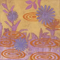 Oopsy Daisyブルーとパープルフローラルオレンジで池からGulf Coastシャドウストレッチキャンバス壁アートby Sally Bennett 14 by 14-Inch PE0108