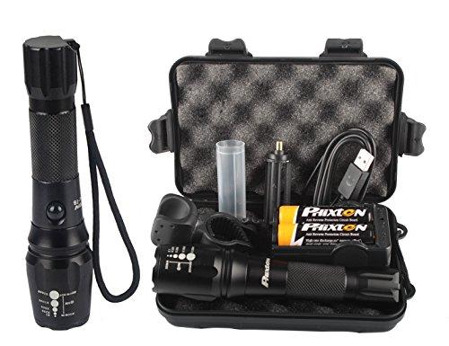 Phixton USB充電式懐中電灯 - XML T6 LED トーチ 1200ルーメン アルミ 調節可能な焦点距離ズーム式 5モード防水 2次18650リチウム電池充電器