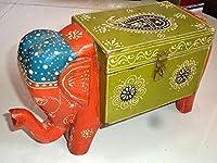 Incredible Indian Handicrafts木製手塗りエンボスジュエリー胸ボックスElephant Shapeホームインテリア