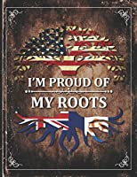 Im Proud of My Roots: Vintage Anguilla and American Flag Personalized Gift for Coworker Friend  Lightly Lined Pages Daily Journal Diary Notepad