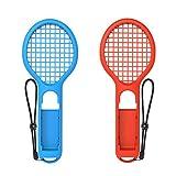 Nintendo Switch Joy-Con専用 ラケット型アタッチメント ブルー&レッド 2個セット 軽量ABS製 テニスゲームの臨場感アップ ハンドストラップ付 FMTDOBETNS843