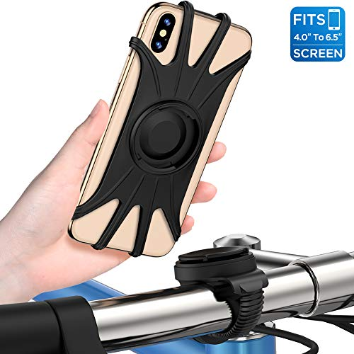 VUP 自転車ホルダー スマホホルダー 取り外し可能 4-6.5インチ iPhone 11 iphone 11 pro iPhone 11 Pro Max iPhone/Android全機種に適用 360度回転 振れ止め メーカー直営 黒