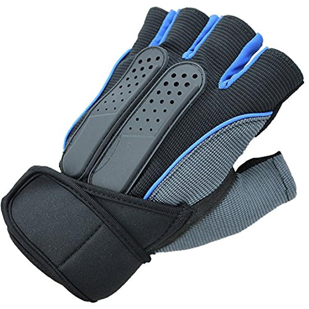 王子チャレンジロンドンTiandao トレーニンググローブ トレッキング ウォーキング サイクリンググローブ 手袋 指切り (Color : 01.Blue, Size : L)