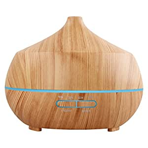 Tenswall アロマディフューザー 超音波式 加湿器 400ml 7色変換LED搭載 木目調 アロマライト