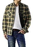 (フラグオンクルー) FLAG ON CREW ジャケット メンズ 中綿入りキルティング シャツ / C4N / L ベージュ×グリーン