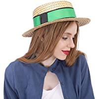 Straw Sun Hat, Women with Green Ribbon Boater Sunhat 2018 New, (Color : Natural, Size : 56-58cm)