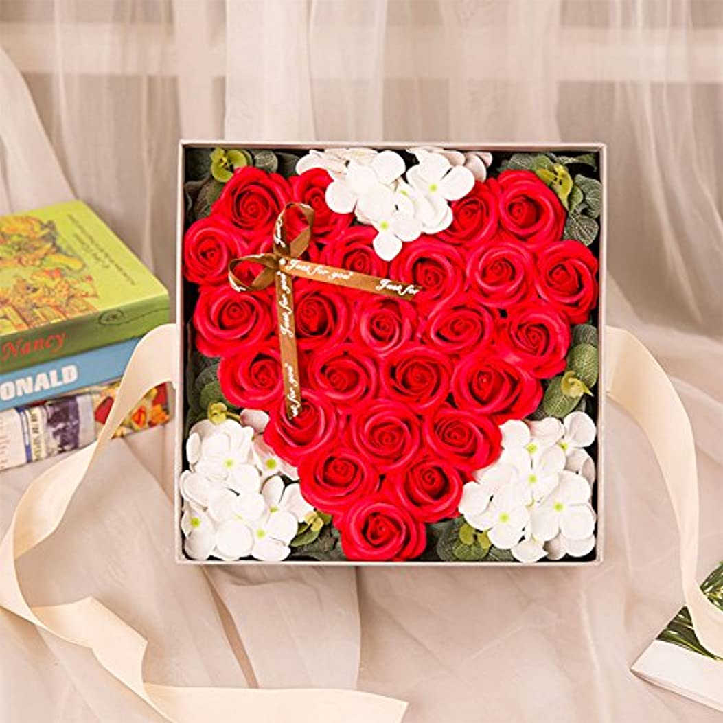 鷹神アテンダントRaiFu クリエイティブ シミュレーションローズ手作り石鹸 ギフトボックスホームデコレーション ユニークなギフト 赤い桃の心