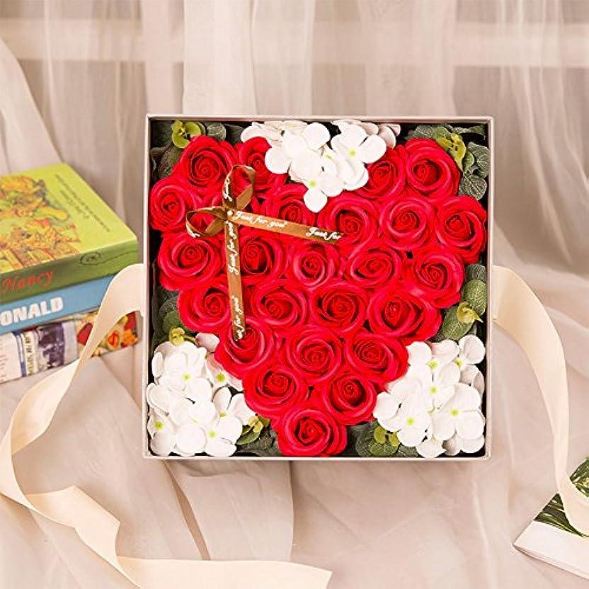 不完全な記念碑に対応するRaiFu クリエイティブ シミュレーションローズ手作り石鹸 ギフトボックスホームデコレーション ユニークなギフト 赤い桃の心