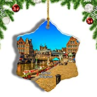 Weekinoベルギーゲントプロムナードクリスマスオーナメントクリスマスツリーペンダントデコレーション旅行お土産コレクション陶器両面デザイン3インチ