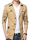 (ベクー)Bekoo メンズ ショート コート ジャケット 無地 シンプル デザイン オシャレ 裏地 シングル ボタン (03 ベージュ XL)