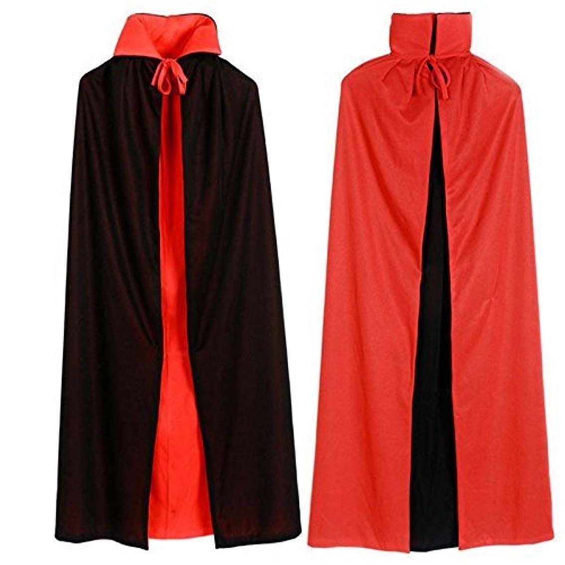 居眠りする制限する雰囲気ハロウィン クリスマス マント ドラキュラ風 赤黒 リバーシブル コスプレ イベント 衣装 (120cm)