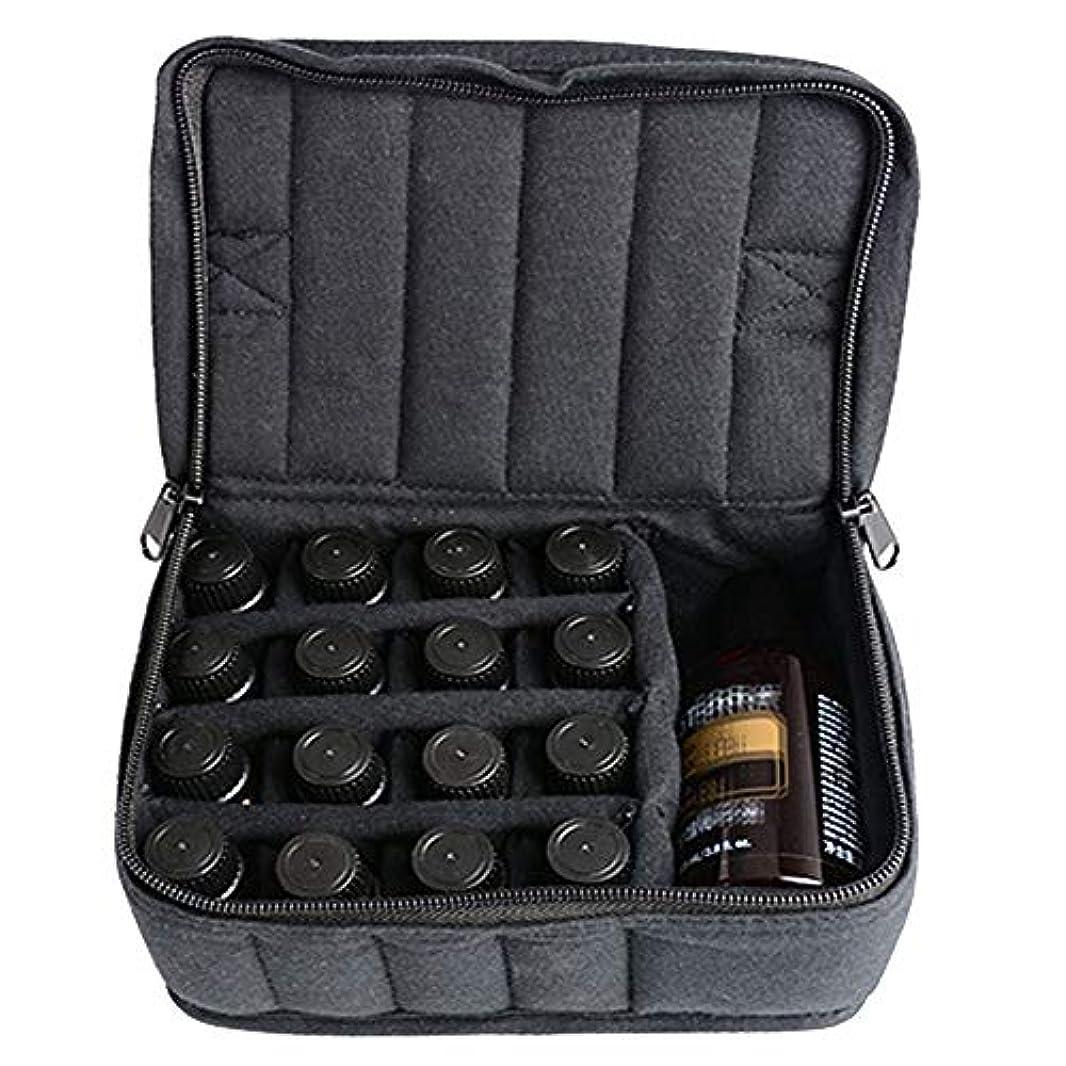シェード不注意ミンチエッセンシャルオイルストレージボックス ソフト17本のボトルエッセンシャルオイルキャリングケースは、旅行ブラックパープルのために17本のボトル5ミリリットル/ 10ミリリットル/ 15ミリリットルを開催します 旅行およびプレゼンテーション用 (色 : ブラック, サイズ : 17X14X7.5CM)