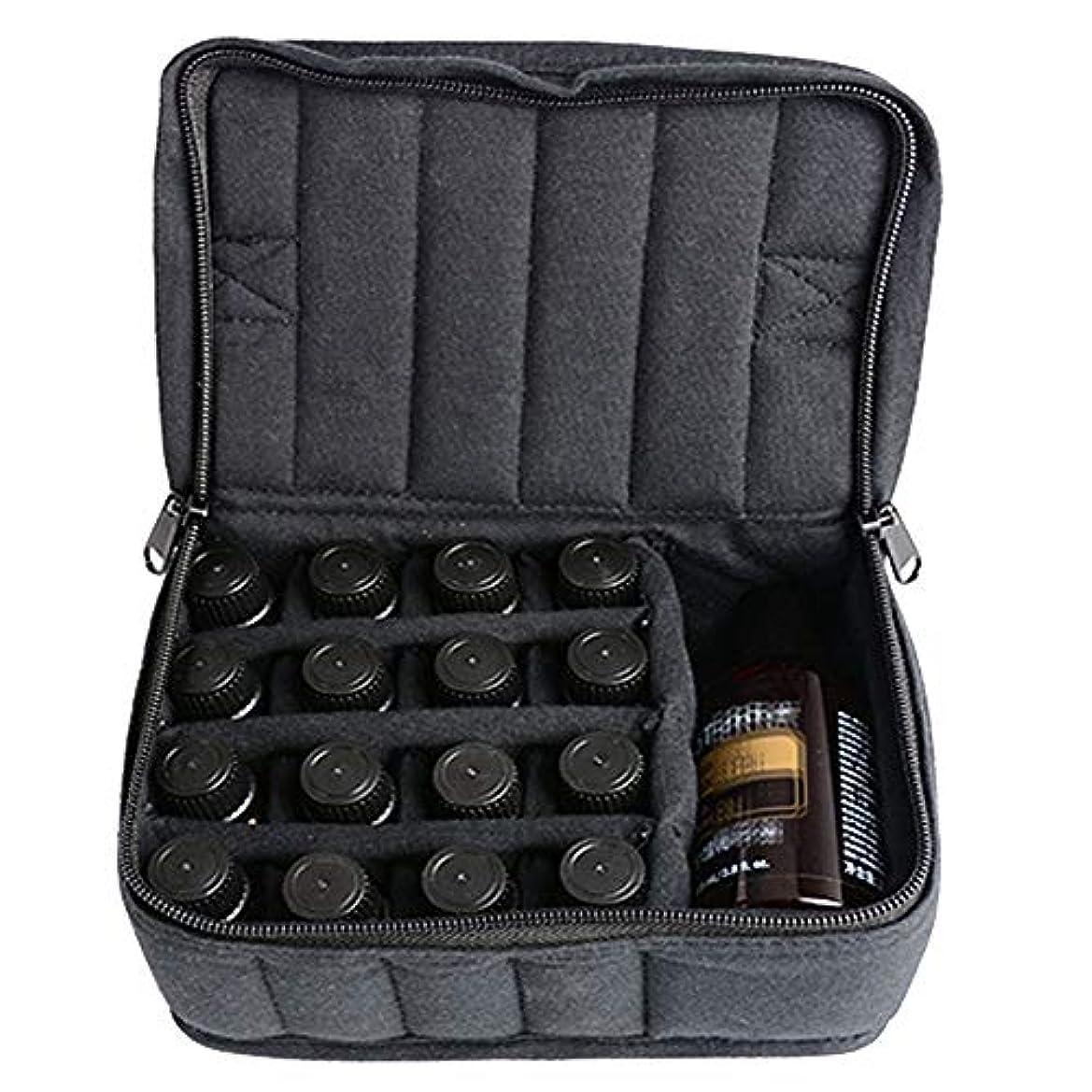 リマーク後方パーク精油ケース ソフト17本のボトルエッセンシャルオイルキャリングケースは、旅行ブラックパープルのために17本のボトル5ミリリットル/ 10ミリリットル/ 15ミリリットルを開催します 携帯便利 (色 : ブラック, サイズ...