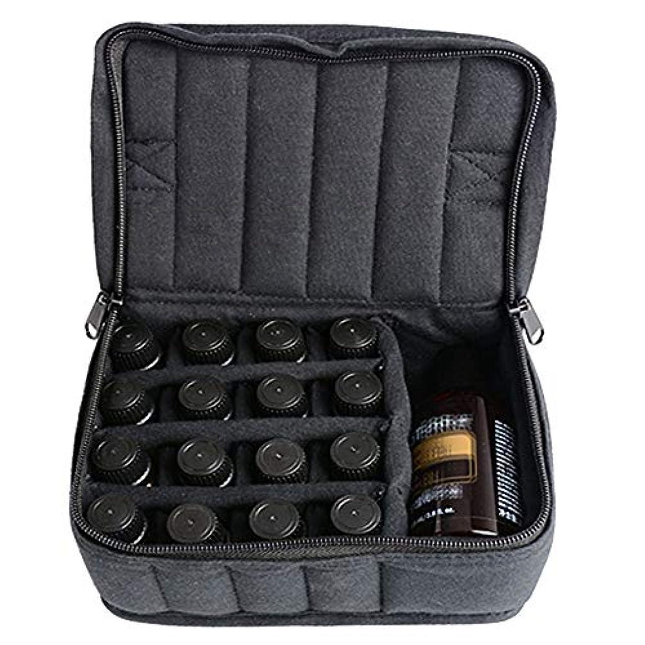 慈善まだ上昇エッセンシャルオイルストレージボックス ソフト17本のボトルエッセンシャルオイルキャリングケースは、旅行ブラックパープルのために17本のボトル5ミリリットル/ 10ミリリットル/ 15ミリリットルを開催します 旅行および...