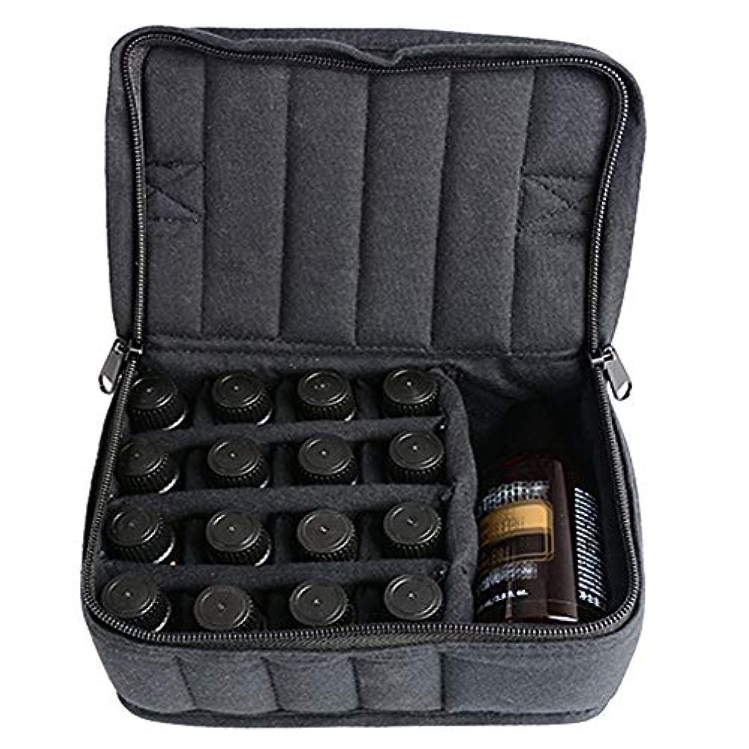 コミット命令責エッセンシャルオイル収納ボックス ソフト17本のボトル-Essentialオイルキャリングケースは、旅行のための17本のボトル5ミリリットル/ 10ミリリットル/ 15ミリリットルを開催します アロマオイル収納ボックス (色 : ブラック, サイズ : 17X14X7.5CM)