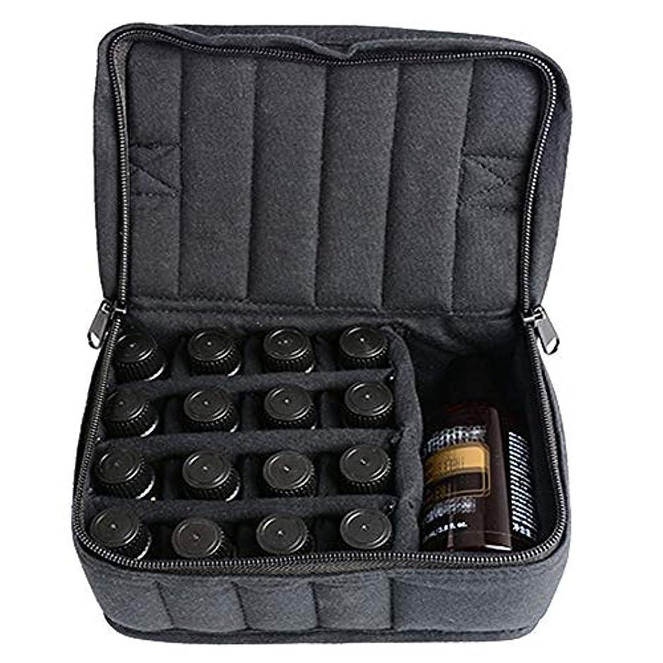 放散する恐怖アマチュアエッセンシャルオイルストレージボックス ソフト17本のボトルエッセンシャルオイルキャリングケースは、旅行ブラックパープルのために17本のボトル5ミリリットル/ 10ミリリットル/ 15ミリリットルを開催します 旅行および...