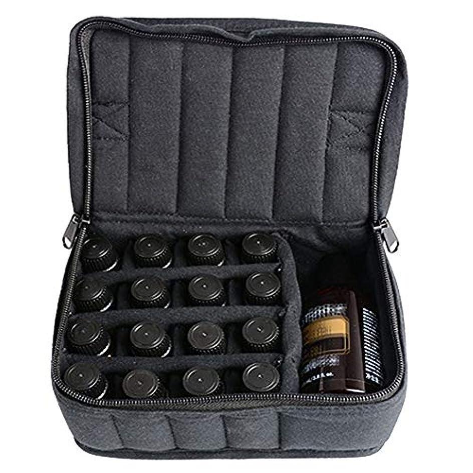 囚人祝うファブリック精油ケース ソフト17本のボトルエッセンシャルオイルキャリングケースは、旅行ブラックパープルのために17本のボトル5ミリリットル/ 10ミリリットル/ 15ミリリットルを開催します 携帯便利 (色 : ブラック, サイズ : 17X14X7.5CM)