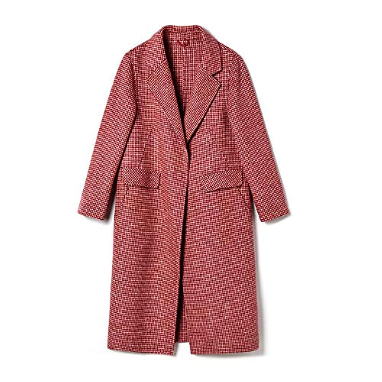 資格撤退圧縮された両面カシミヤのコート、長いセクションレディースコートレディースウインドブレーカージャケット女性の秋と冬人気のウールウールコート,M