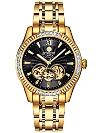 c34bdb1607 BINLUN メンズ腕時計 スケルトン 機械式 自動巻き式 オートマティック ダイヤモンド 高級感 シースルーバック ブラック
