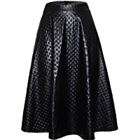 Joansam New Arrival Autumn Women's Casual Black Grain Leather Midi Swing Skirt