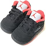 【8cm-16cm】NIKE AIR JORDAN 5 RETRO LOW TD ナイキ エアジョーダン 5 レトロ ロー TD ブラック×レッド ベビー キッズ 子供靴 スニーカー