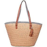 ABage Beach Bag Large Woven Straw Bag Handmade Shopper Tote Zipper Top Handle Shoulder Bag