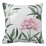 ピンクのシャクヤクおよび白いユリの花柄の装飾用クッションクッションカバー 45×45 おしゃれ 車用クッション ホーム インテリアー 雑貨
